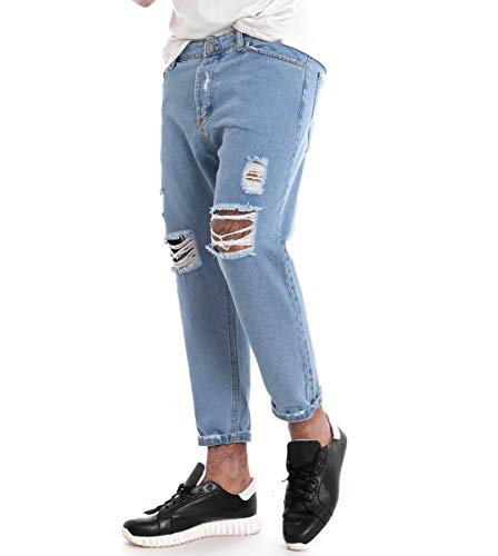 Casual Pantalone Rotture Tasche Cinque Denim Giosal Jeans Chiaro Uomo OqCwxZga