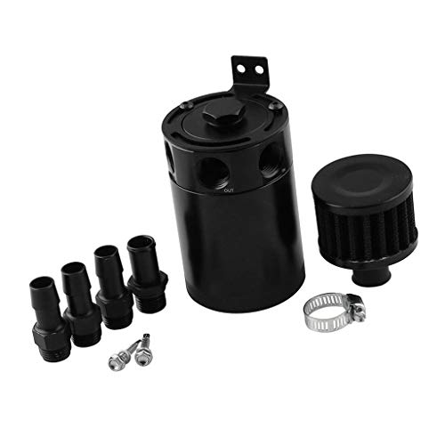B Blesiya Universal Baffled Universal Oil Catch Can Reservoir Tank Breather Filter Kit/Oil Separator with 3 Ports, Compact