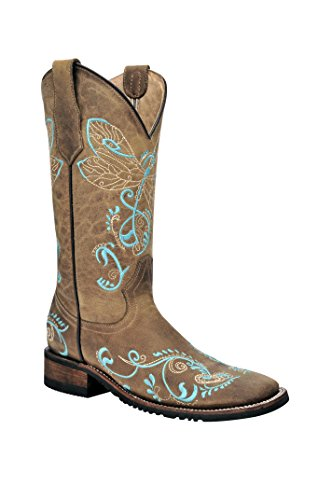 Corral Womens 12-inch Circle G Dragonfly Embroidery Leather Boots - Tan/Turquoise - Sizes 5-12 B Tan/Turquoise QjJIMuTiw