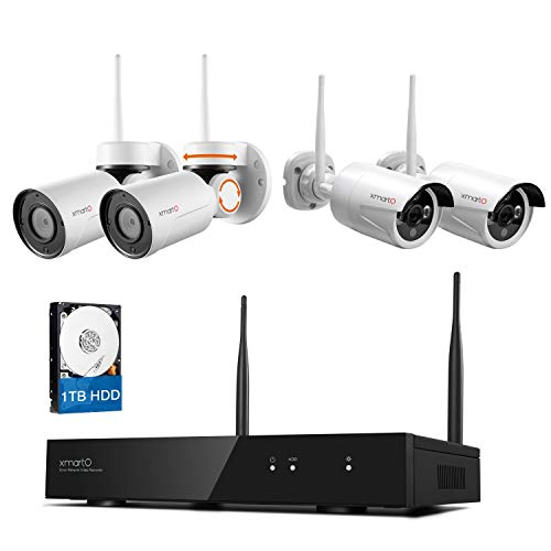 [Pan Tilt & Expandable] xmartO Hybrid Wireless Security Camera System with 8CH H.265 NVR, 2pcs Wireless PT Cameras (Built-in Audio), 2pcs Fixed-Angle WiFi Bullet Cameras (Audio Compatible) and 1TB HDD