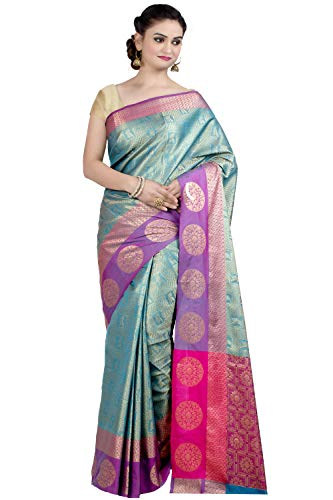 Chandrakala Women's Kataan Silk Blend Indian Ethnic Banarasi Saree with Unstitched Blousepiece(1293) (Sea-Green-1)