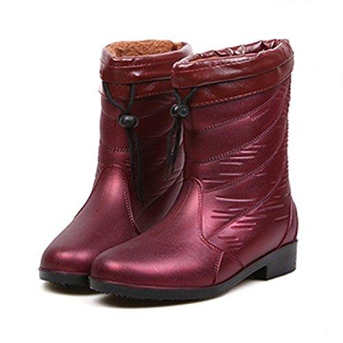 Sra. ocio al aire libre botas de lluvia wine red
