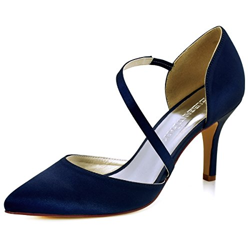 ElegantPark HC1711 Women High Heel Strappy Dress Pumps Pointy Toe Satin Wedding Party Shoes Navy Blue US 5 -