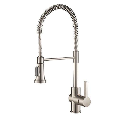 Kraus Britt Single Handle Commercial Kitchen Faucet with Dual Function Sprayhead in all-Brite Spot Free Stainless Steel Finish (Dual Handle Kitchen)