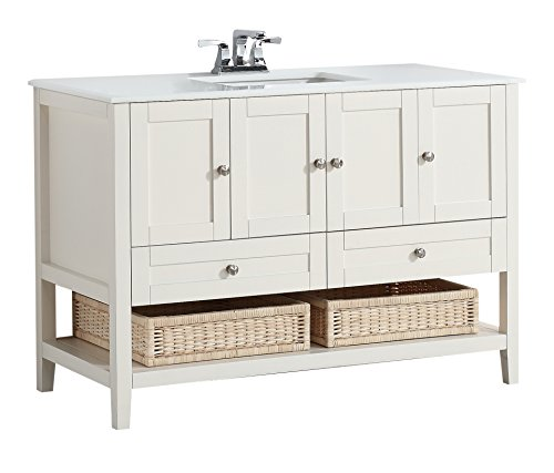Simpli Home 4AXCVCCW-48 Cape Cod 48 inch Contemporary Bath Vanity in Soft White with White Engineered Quartz Marble Top