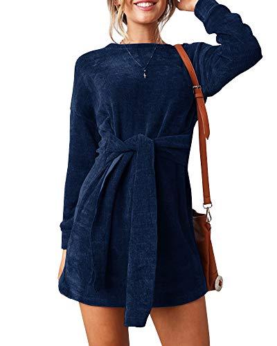 Ybenlow Womens Velvet Dress Long Sleeve Slim Fit Tie Waist Party Midi Fall  Dresses 953bf324a02a