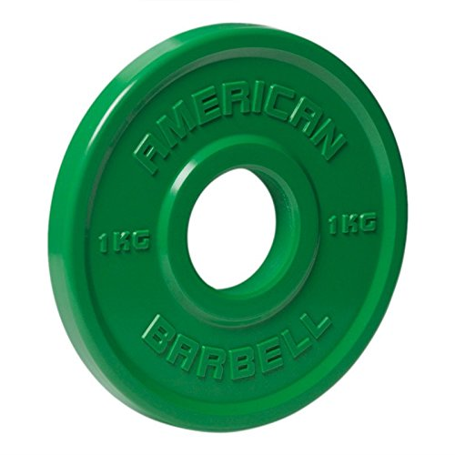 American Barbell Urethane Fractional Olympic Weight Plates - 1 KG Pair - Green - Fraction Plates for Micro-Loading