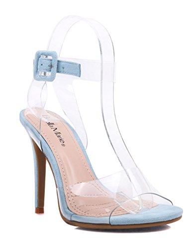 Mode Sexy Transparant Transparante Vamp Enkelbandje Gesp Sandalen Womens 5 Stiletto Hoge Hakken Kleding Schoenen Blauw