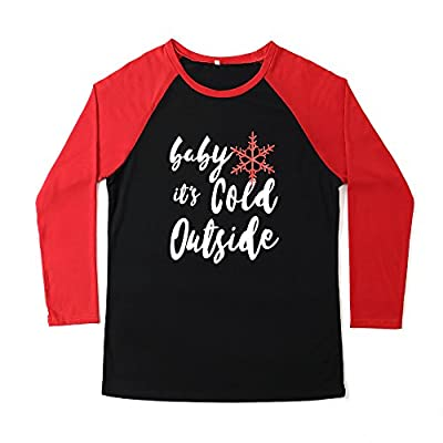 Nice LUKYCILD Women Christmas Baby It's Cold Outside Letter Print Shirt Plus Size Raglan Top supplier