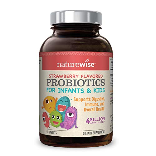NatureWise Chewable Probiotics for Kids and Infants | Clinically Proven for Digestion & Immune Support | Probiotic Powder for Children, Infants, Babies | Zero Sugar Natural Strawberry Flavor, 60 ct