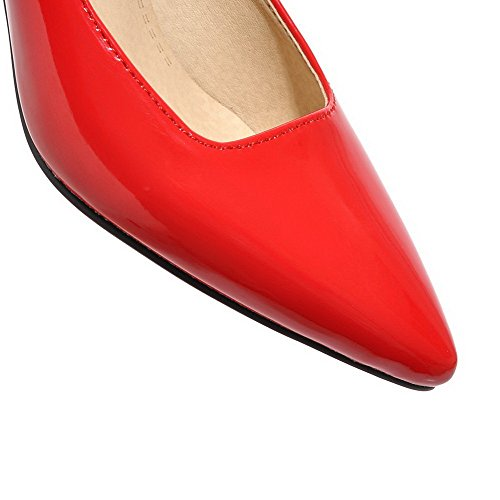 Légeres Chaussures Talon Tire AgooLar Correct à Unie Couleur Femme Verni Rouge nqx1Owt18z