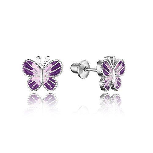 925 Sterling Silver Rhodium Plated Enamel Butterfly Screwback Baby Girls Earrings (Plated Butterfly Earrings)