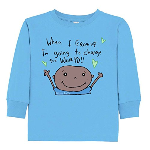 inktastic Change Toddler Long Sleeve T-Shirt 3T Light Blue - Gus Fink Studios Change Kids Light T-shirt