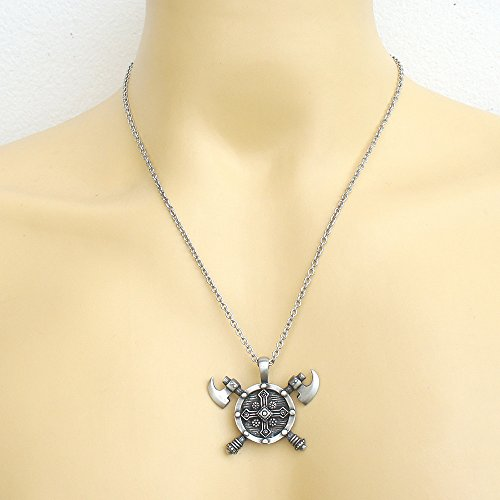 Viking Double edged Battle Axe Ax Pewter Pendant Stainless Steel Chain Necklace by OhDeal4U (Image #5)