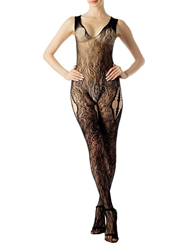 Racer Back Fishnet - iB-iP Women's Cami Top Cut Out Eyelet Lace Fishnet Crotchless Long Bodystocking, Size: One Size, Black