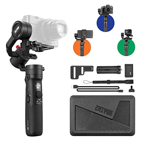 Zhiyun Crane M2 3-Axis Gimbals for Mirrorless Cameras,Action Camera, Smartphones Payload 130g - 720g,Rod Quick On/Off, 7h Runtime, WiFi&Bluetooth Control with Mini Tripod and Extension (Crane Rods)