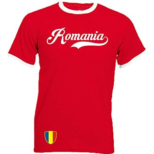 Rumänien - Ringer Retro TS - rot - EM 2016 T-Shirt Trikot Look Romania