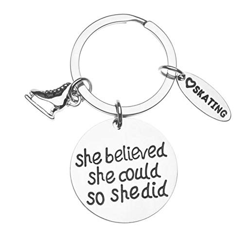 Sportybella Figure Skating Keychain, Ice Skating Jewelry, She Believed She Could So She Did Skate Charm Key Ring - Perfect Figure Skating Gifts