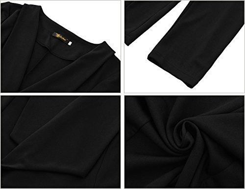 Mode Costume Longues Mini Yidarton Casual Manteau Manches Femme Vestes Haut Top Noir Pardessus Rome EnRwBFq