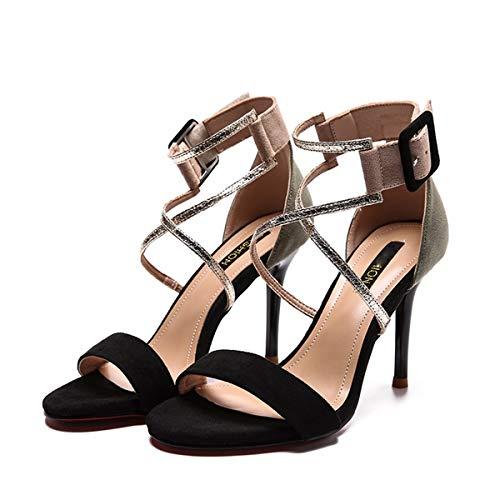Thin KPHY Shoes Buckle Nine Thirty High Summer Fairy Sandals Black Matching 9Cm Velvet Joker Belt Heel Color Shallow zrpf7nzwq
