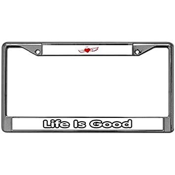 Welljooy Life Is Good License Plate Frame License Plate Frame Custom  Classic DIY Model Fits Standard