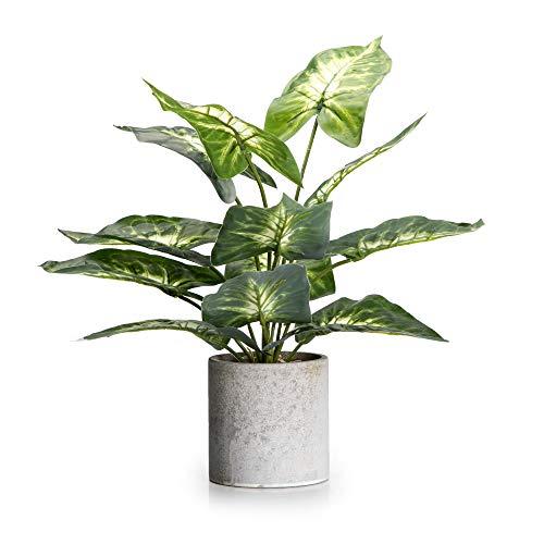 Velener 16″ Artificial Potted Green Leaf Plant in Pot for Desk Top Decor (Taro Leaf)