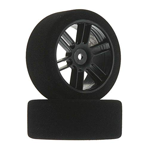 Johns Bsr Racing 1/10 26mm Nitro Touring Foam Tires, Mounted, 38 Front, Black Wheels (2), BXRF2638B