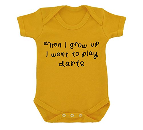 When I Grow Up... Darts Baby Bodysuit Sunflower Yellow with Black Print
