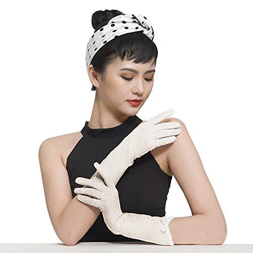 (JINTN Women Sunscreen Gloves Outdoor Driving Non-Slip Gloves Summer Cotton Sunblock Gloves Ladies Elegant Lace Gloves Fishing Golfing Sun Protective Outdoor Gloves Women's Lace Touch Screen Gloves )
