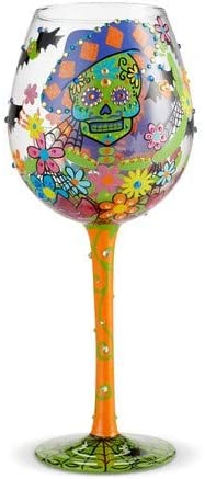 Lolita 6002982 Bling Sugar Skulls Wine Glass