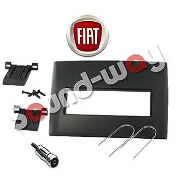 Marco embellecedor de radio, radio de coche, estéreo, con adaptador de 1 DIN para Fiat Stilo, color negro: Amazon.es: Coche y moto