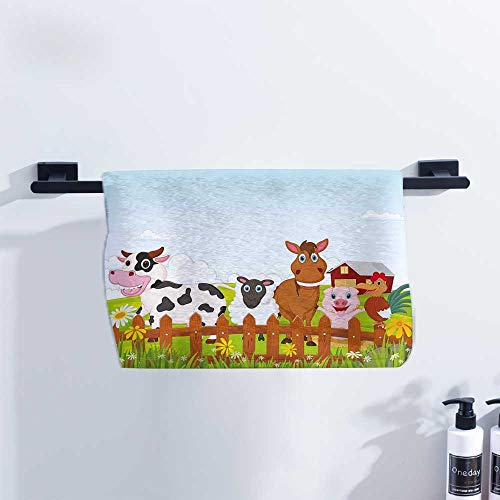 Single Creature Bond - Animal Gym Towel Cute Farm Creatures with Cow Horse Goat Pig and Chicken by The Fences Kids Cartoon Ultra Absorbent W20 x L20 Multicolor