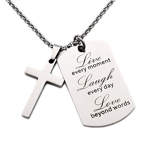 N.egret Necklace Chain Cross Pendant Inspirational Jewelry Quotes Gift for Girl Teen Daughter men Birthday (Live) Easter Cross Necklace