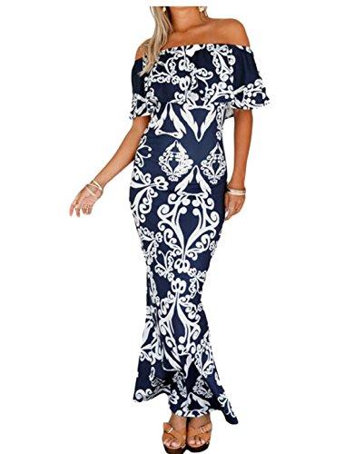 Slim Evening 4 Floral Dress Printed Shoulder Party Jaycargogo Maxi Off Womens Boho EHqywA0