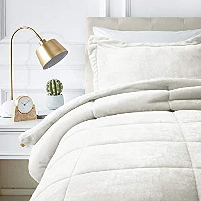 AmazonBasics Ultra-Soft Micromink Sherpa Comforter Bed Set, Twin, Cream - 2-Piece - Includes 1 comforter and 1 pillow sham Covered in ultra-soft micromink polyester on one side and cloud-like white faux sherpa fleece on the other. Reinforced with stylish box stitching, the comforter resists fraying and sliding, staying put nicely on your bed - comforter-sets, bedroom-sheets-comforters, bedroom - 41k%2BbVyiCiL. SS400  -
