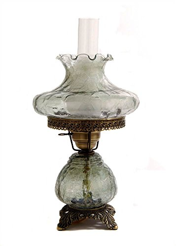 19 in. Crackle Hurricane Table Lamp w 10 in. Tamoshanta Shade -