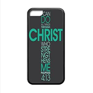 Christian Bible Verse Philippians 4:13 I Can Do All Things Through Christ Who Strengthens Me Apple iphone 5C Plastic and TPU (Laser Technology) Case Cover