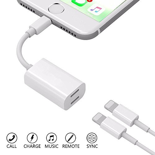 Darrent rgy-wrhtjl Dual Lightning Adapter Splitter for iPhone 7/7 Plus/8/8Plus, Lightning to Dual Lightning Headphone Charge Adapter, Support Call Music Charger Sync Data for iOS 10.3 Devices