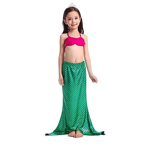 [Little Girls 3 Pcs Princess Mermaid Tail Swimmable Bikini Set Swimwear (130 M(5))] (Cute Kiddie Costumes)