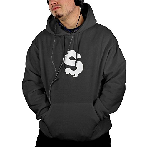 Businessman Carrying Big Dollar Sign Men's Hooded Jacket Full Vintage Printed With 2 Pockets Black Small