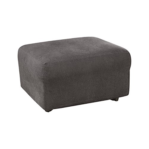 SureFit Ultimate Stretch Leather - Ottoman Slipcover  - Antiqued Slate (SF44044)