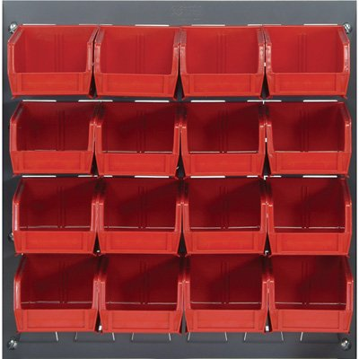 Quantum Storage Louvered Panel with 16 Bins - 18in.L x 19in.H Unit Size, Red, Model# QLP-1819-220-16R (Louvered Wood Panels compare prices)