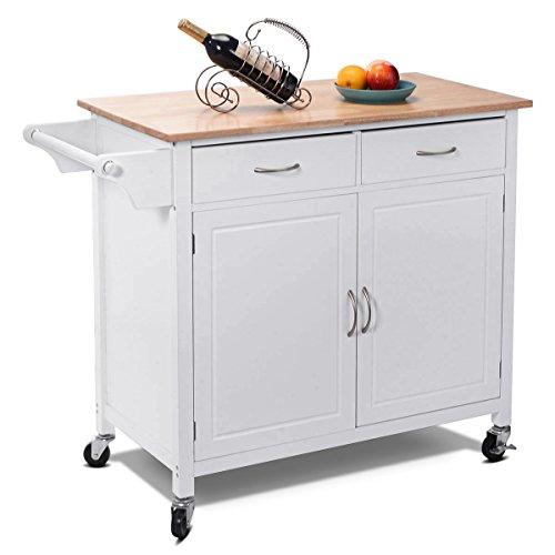 CHEFJOY Kitchen Rolling Cart w/ 2 Drawers 2-Door Cabinet Adjustable Shelf Wood Top Island Serving Utility Storage Cart w/Lockable Wheels Towel Rail Handle (White) ()