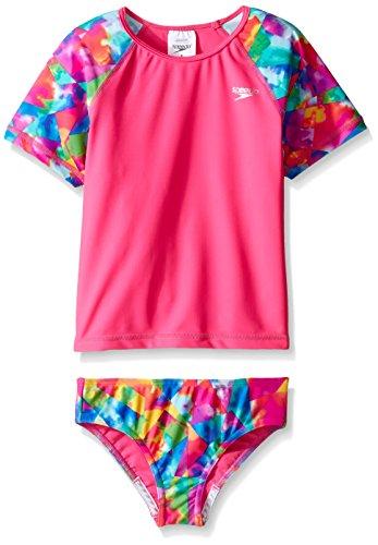(Speedo Girls Short Sleeve Printed Rash Guard Two Piece Swim T-Shirt/Shorts Set, Electric Pink, Size 6)