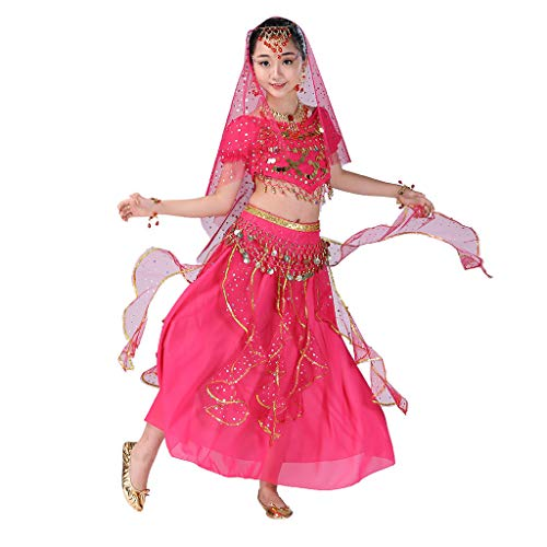 Girls Halloween Costume Set - Kids Belly Dance Halter Top Dresses with Jewelry Accessory for Dress Up Party -