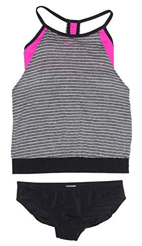 Nike Womens Tankini Athletic Two-Piece Swimsuit (Black Heather/Pink/Black)