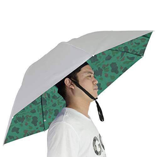 NEW-Vi Fishing Umbrella Hat Folding Sun Rain Cap Adjustable Multifunction Outdoor Headwear (Silver/Camouflage(Single Layer))