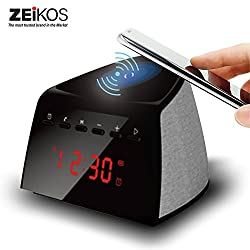 ZEIKOS 5W Qi Wireless Charging Alarm Clock Bluetooth Speaker With FM Radio For for IPhone X iPhone 8/8 Plus, Samsung Galaxy Note 8/S8/S8 Plus, S7 Qi-Enabled Device
