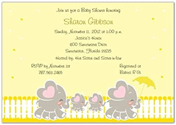 Amazon elephant family with twins baby shower invitations elephant family with twins baby shower invitations set of 20 filmwisefo