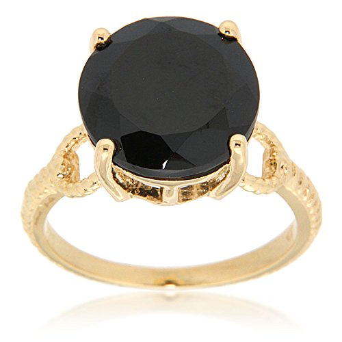 14k Yellow Gold Plated Black Spinel Solitaire Ring